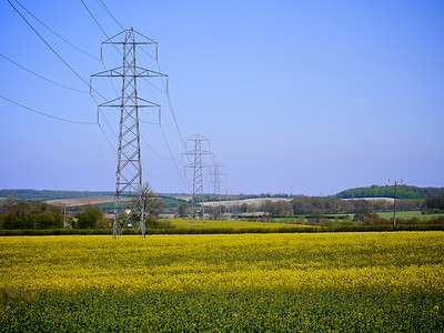 North Hampshire Landscape. Pylons, rapeseed and chalk.