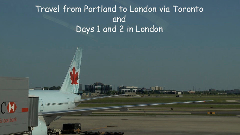 Days 1 and 2. Travel from Portland to London via Toronto and our first two days in London. Shows our first lodging at 10 Claridge Court in the Fullham District of west London. We toured Hyde Park the first day and wandered about London the second.