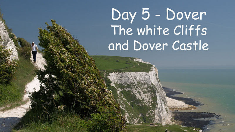 Day 5. This was our day to see the White Cliffs of Dover and tour Dover Castle. Another beautiful day but the winds on the cliffs at Dover were really howling as you will see toward the end of the slide show. We had dinner at a the pub in Pluckley this evening.<br /> Music for this clip is On Castle Rock by Connie Dover