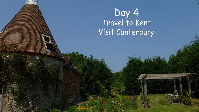 Day 4. Took the train from Victoria Station in London to Ashford in Kent. Picked up the Peugeot 206 diesel hatchback and drove to our lodging at Elvey Farm B&B in Pluckley, Kent. Then drove to Canterbury that evening to see the cathedral there and back to Pluckey with dinner at the restaurant there.