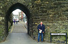 Alex propping up the wall at Conwy, North Wales.