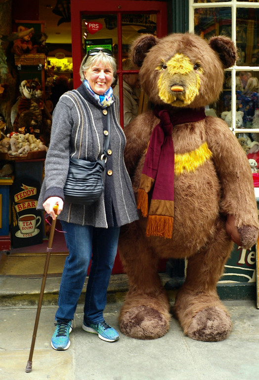 Herself with ursine York friend.