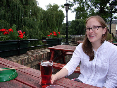 Relaxing at the Granta in Cambridge (with some sort of English beer)