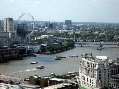 View towards the Thames and the London eye