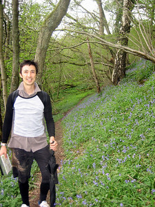 More pretty blue-bells...and a very muddy Tobias, who slipped over on the path and landed on his bottom - oops!