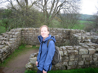 Steph outside the ruins of a turret.