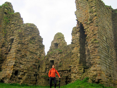 Tobias standing in the ruins of Thirlwall castle - a 14th century castle built entirely out of Roman masonry from Hadrian's wall.