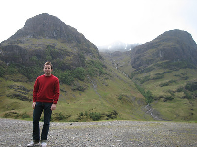 Alex looking relaxed at Glen Coe, in spite of the freezing cold wind.