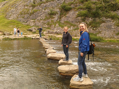 Steph and Emily at the Stepping Stones, Dovedale