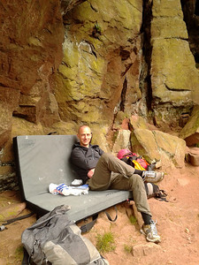 Relaxing after a day climbing at the Roaches