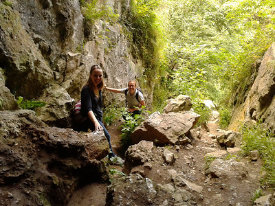 Emily and Steph at a cave in Dovedale