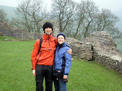Tobias and Steph in the grounds of Peveril Castle