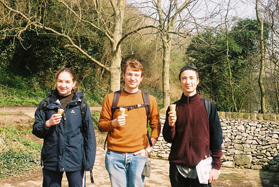 Kirsty, Matt and Tobias enjoying ice-creams. The availability of ice-creams is one of the perks of hiking in a densely populated country like England.