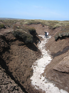 Walking a riverbed through the peat on Kinder Scout