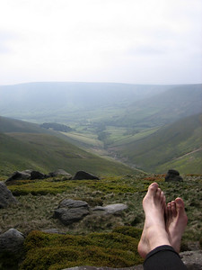 Tobias looking down a valley from Kinder Scout