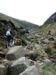 Climbing through Grindsbrook Clough on the way up Kinder Scout