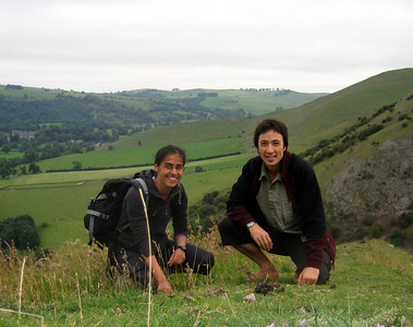 Kiran and Tobias on top of Thorpe cloud. Walking barefoot here was tricky because there were a lot of thistles.