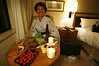 At the Metropolitan Hotel in Ikebukuro, with our first Yukata robe, dinner items bought at the local supermarket