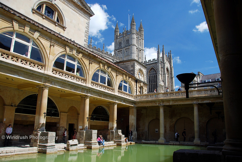 012 Roman Baths and Bath Abbey, Bath, UK