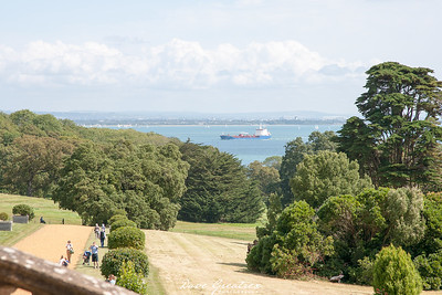 View over Solent towards Portsmouth dockyard