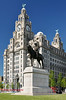 056a Liver Building and statue of Edward Seventh, Liverpool