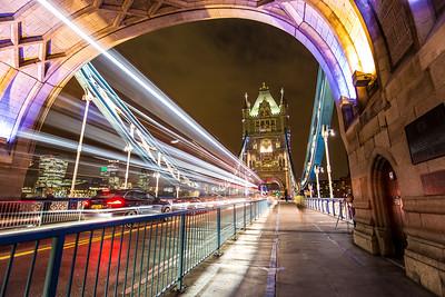 Bus Lights On Tower Bridge