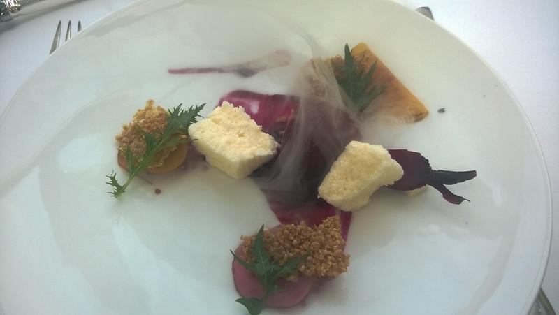 beetroot baked on open coals, quinoa, goat's cheese, mizuna