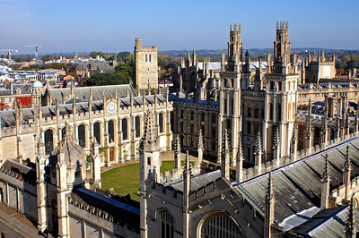 Enjoying the view from St. Mary's tower - all Souls college
