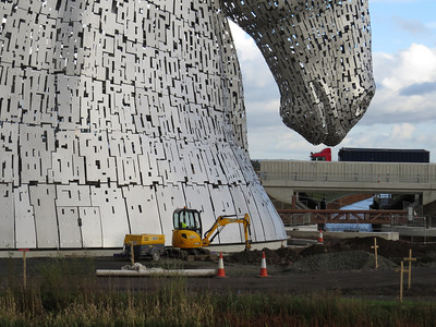 Kelpies under construction