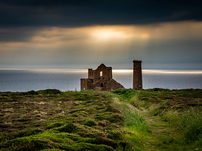 Wheal Coates tin mine and Sun Spots on the Water