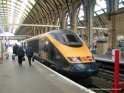A GNER leased Class 373 Eurostar trainset (373306) running as White Rose services to Leeds (Taken in: King's Cross Station, London, United Kingdom)