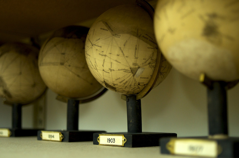 The recently (re)discovered Mars globes created by P. Lowell.