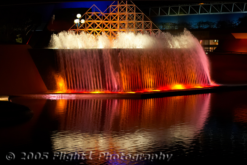 Lighted fountain in front of The Land pavillion in Epcot's Futureworld