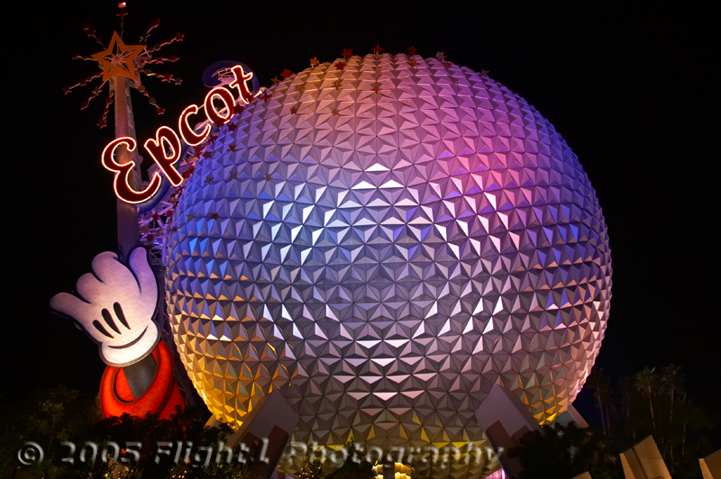 A view of Spaceship Earth concludes another day at Epcot