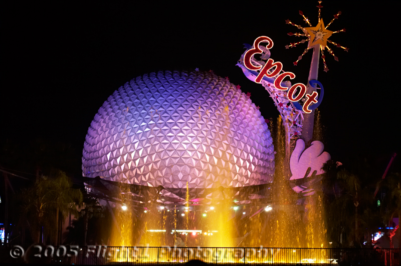 Night view of Spaceship Earth from the Plaza near the Epcot main fountain