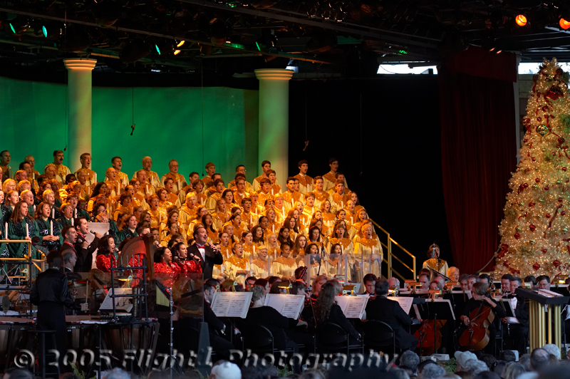 The annual Candlelight Processional, an Epcot Christmas tradition