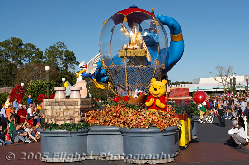 Aladdin in the Snow Globe and Winnie the Pooh on the float