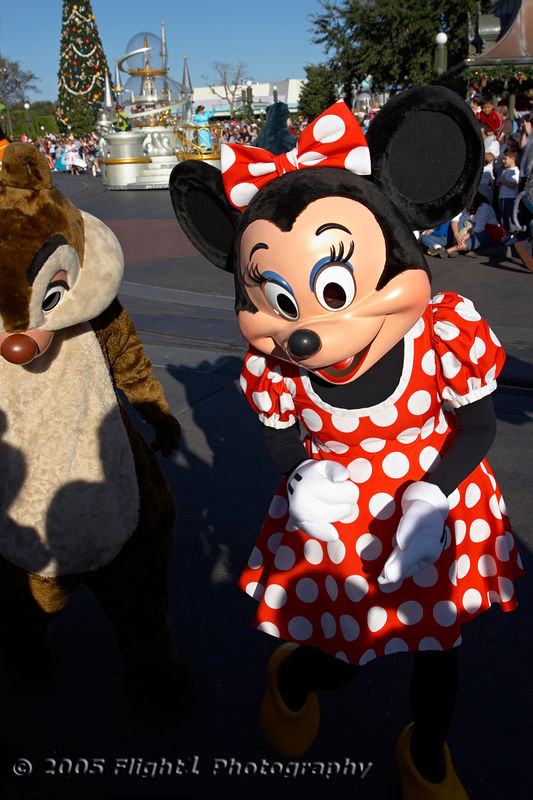 Minnie Mouse greets her fans with Dale alongside