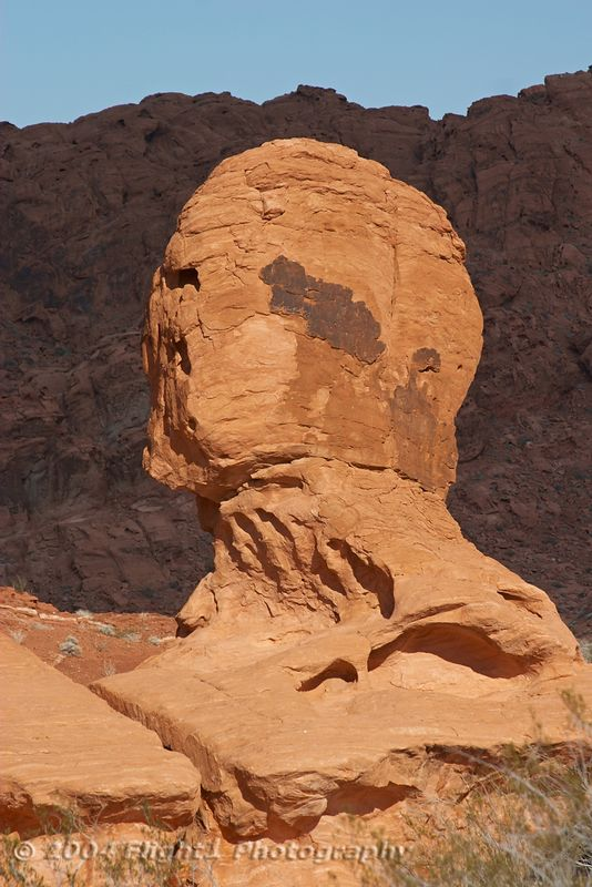 A rock formation that looks like a human head