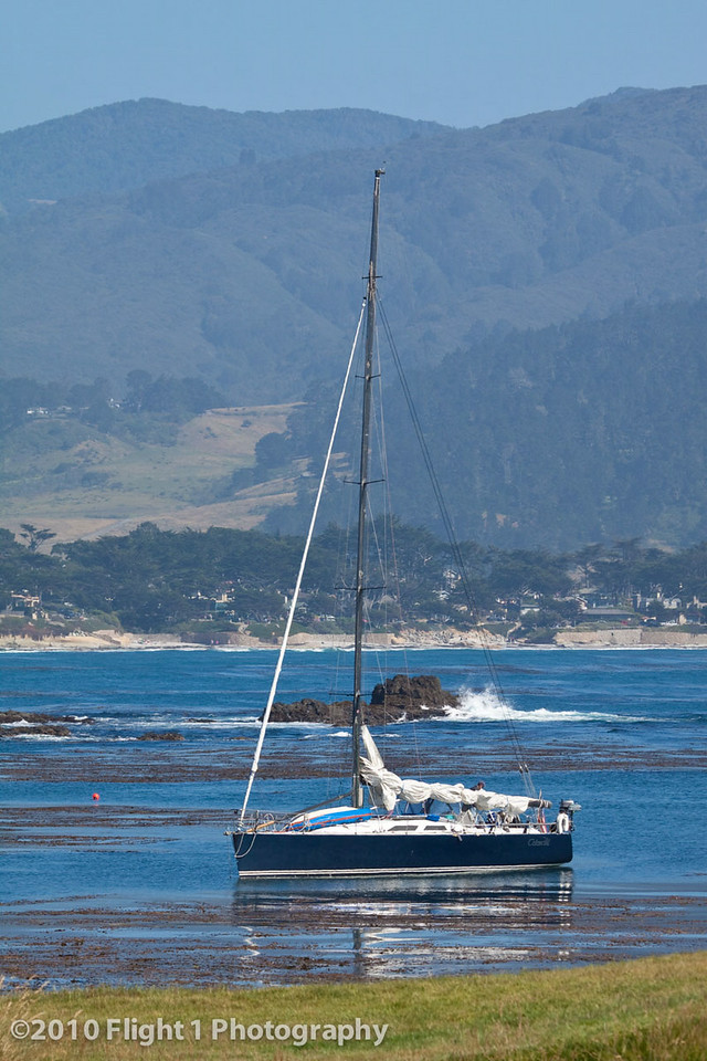 Anchored in the cove at Pebble Beach