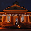 Colonial Williamsburg: Courthouse (NIGHT): Central to the life of the community in colonial times. The Declaration of Independence and Treaty of Paris (ending the Revolutionary war) was read from its steps! Here were heard debt, livestock and ownership disputes as well as crimes such as theft. Punishment was quick; the whipping post and the public stocks stood just outside, a few steps from the prisoner's dock. Serious cases involving free subjects (ones for which the penalty touched life or limb) were the province of the General Court, which met each April and October in the Capitol.