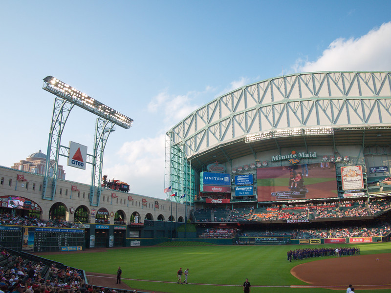 Stadium where the Astros play - check out the train engine on the left below the lights