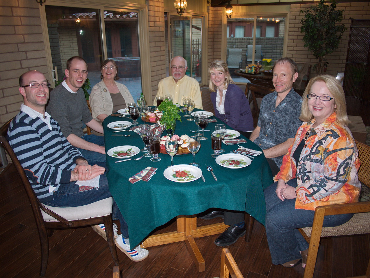 Family dinner at the home of Lee and Kay Rockwell (3rd from left), joined by Marla and Gary Kraft (far right and 4th from right). Lee was taking the photo.