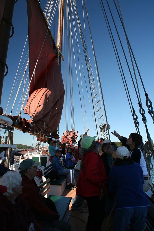 Raising sails on the Margaret Todd Schooner during a windjammer cruise among the islands of Frenchman's Bay.