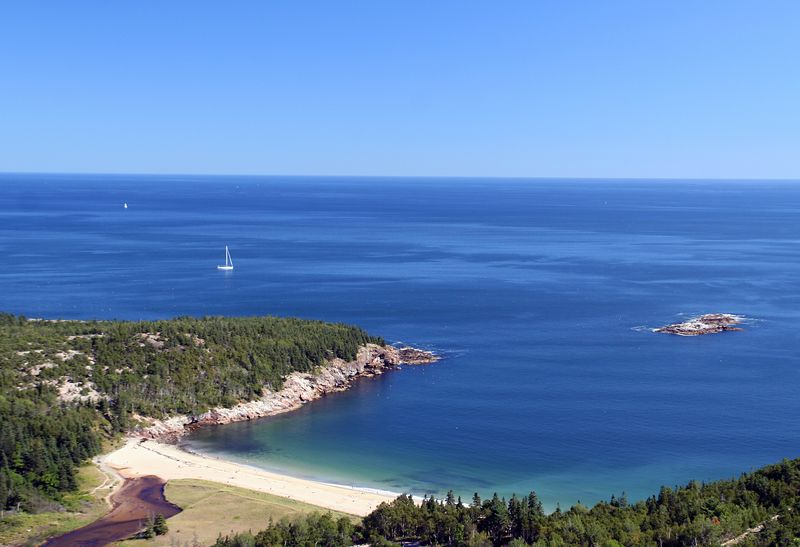 View of Sand Beach from the Beehives. Beach is located on the East side of Mount Desert Island.