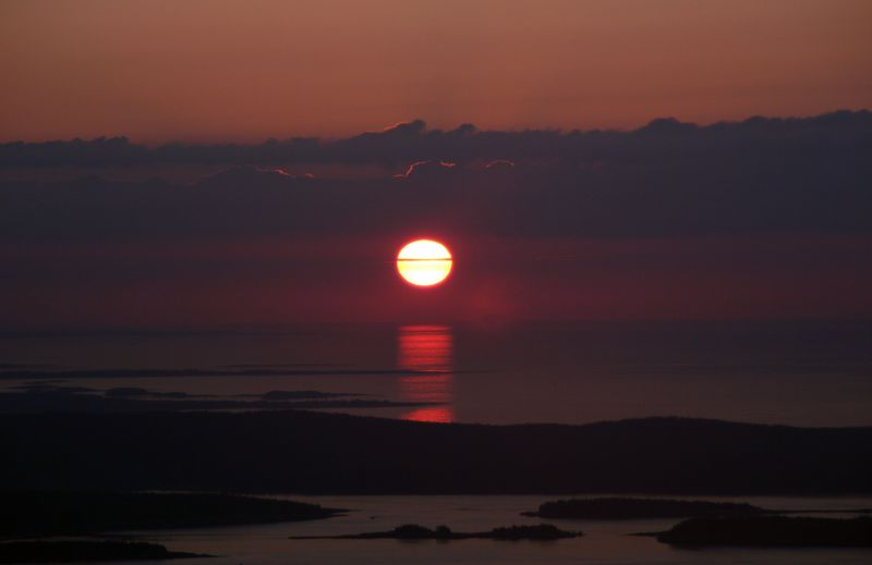 Cadillac Mountain receives the first daylight in the Continental US.
