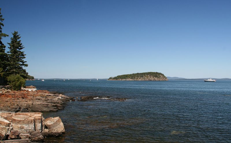View of Porcupine Islands from Bar Harbor shore path.