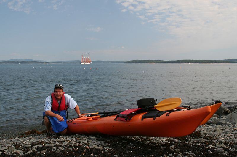 Kayaking tour around the Porcupine Islands. Margaret Schooner in the background.