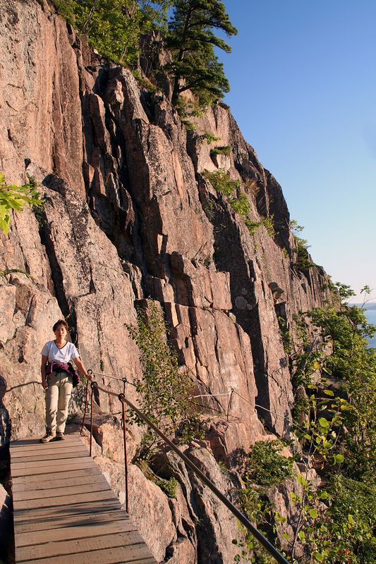 To reach Champlain summit you cross bridges, climb ladders along the exposed and almost vertical 1,000 ft. cliff.