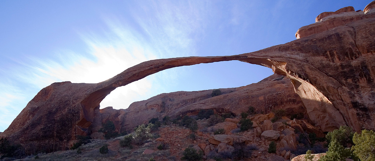 Landscape Arch is the longest Arch in Arches National Park, measuring 306 feet from base to base.
